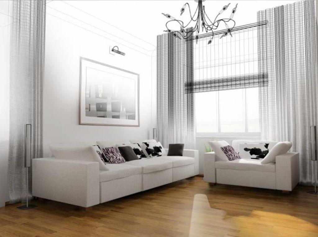 Белая мебель в гостиной комнате современного стиля