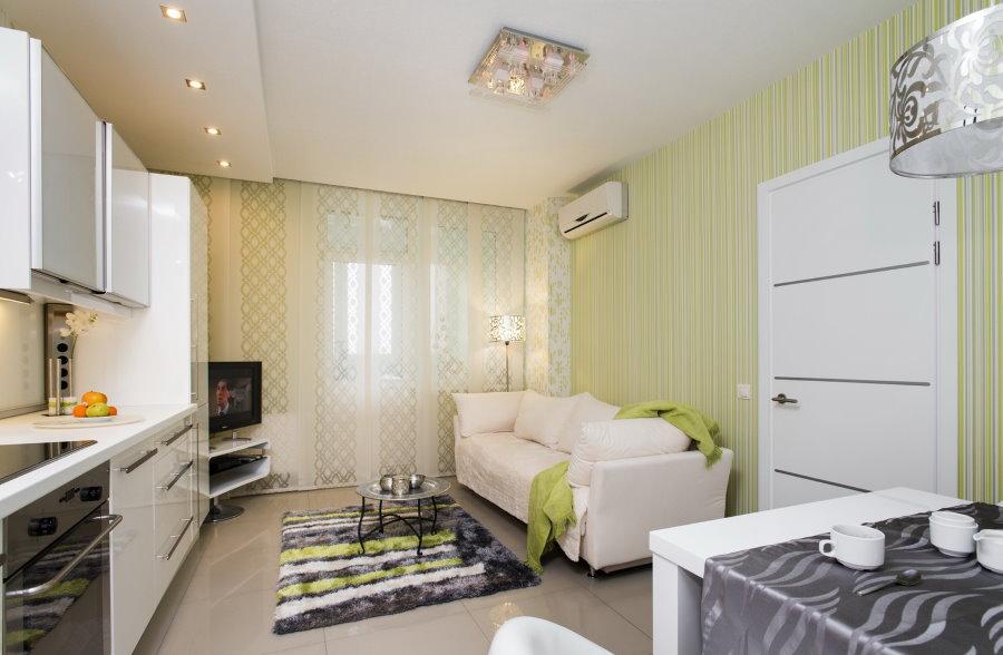 Расстановка мебели в квартире студии 14 кв метров