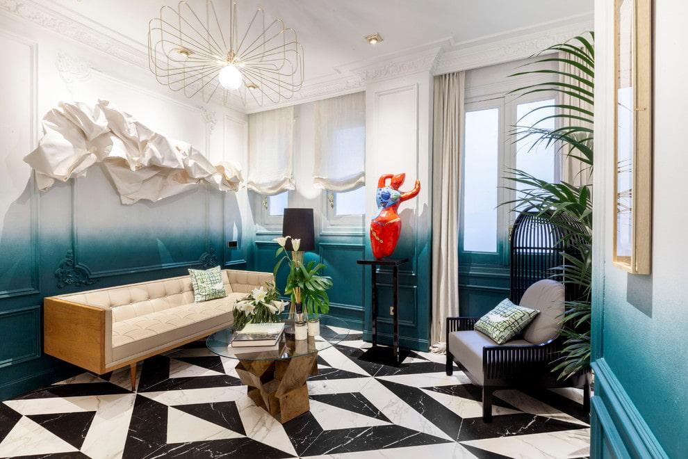Дизайн гостиной комнаты с контрастной плиткой на полу