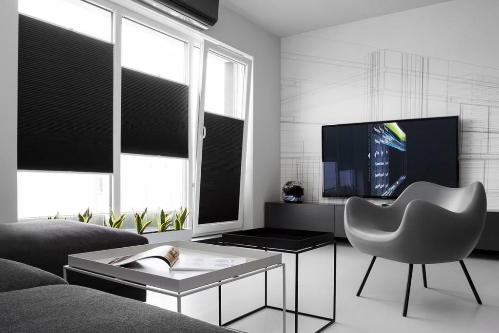 Черные рулонные шторы в гостиной стиля минимализм
