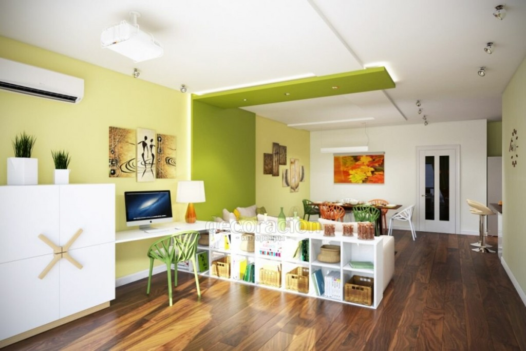 Зонирование квартиры-студии цветом стен