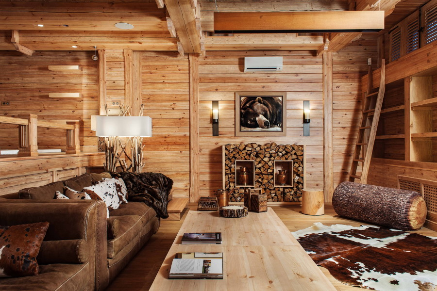 Декорирование гостиной комнате в стиле дома охотника