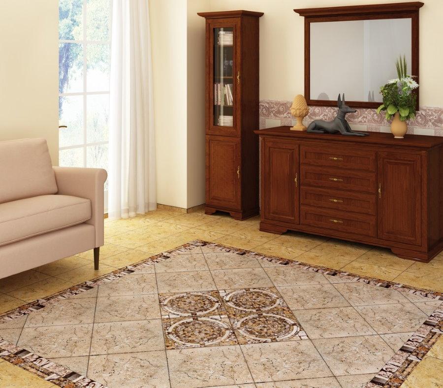Дизайн гостиной комнаты с ковром из плитки