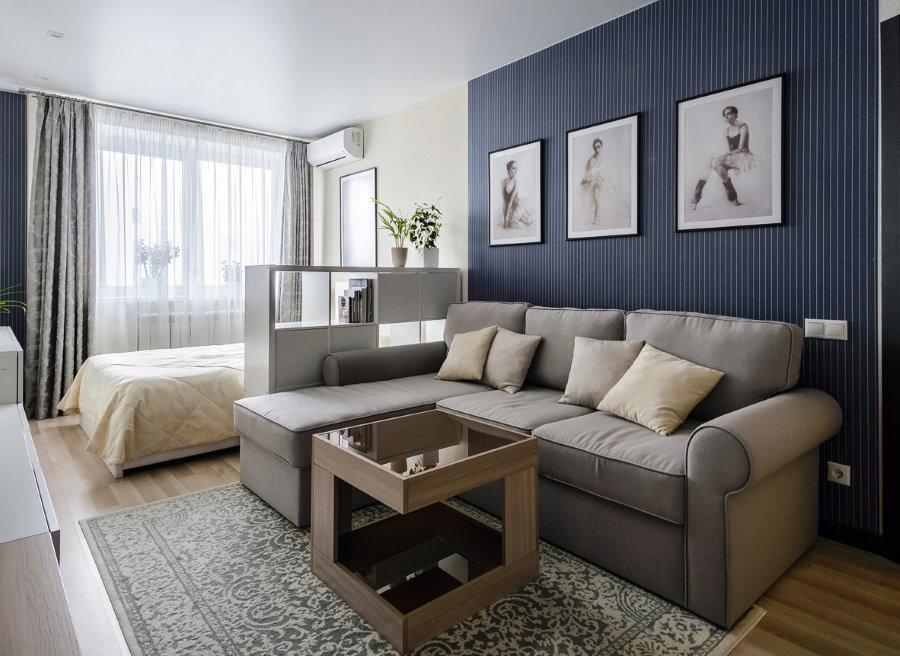 Зонирование стеллажом спальни-гостиной