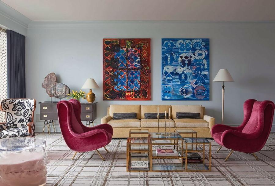 Красивые картины в интерьере гостиной комнаты