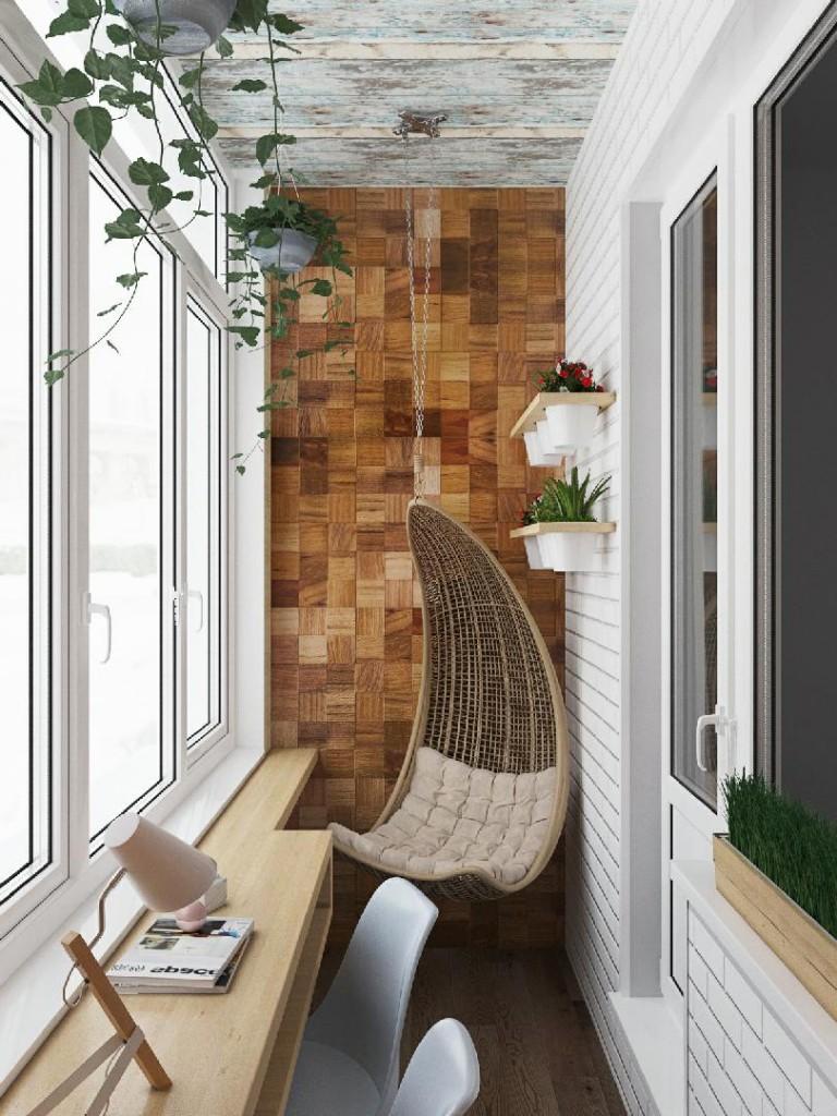 Дизайн балконного пространства в эко стиле