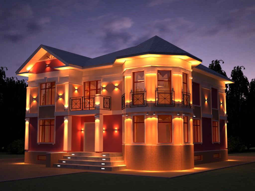 Фото фоновой подсветки фасада частного дома
