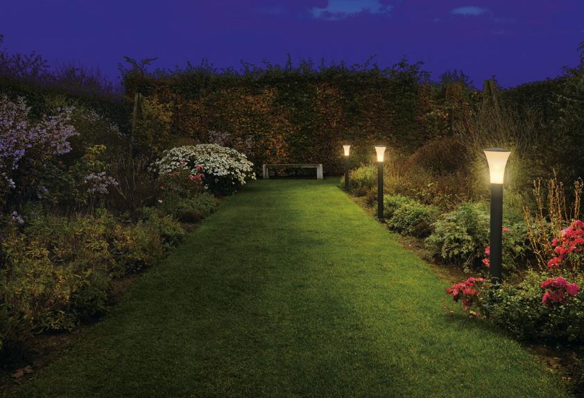 Освещение зеленой дорожки из газонной травы