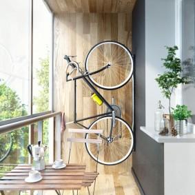 Хранение велосипеда на стене балкона