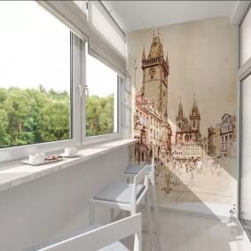 Дизайн балкона с художественной росписью на стене