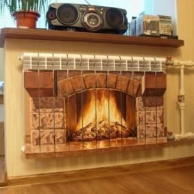 Декор радиатора отопления под камин
