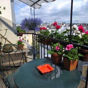Розы в контейнерах на перилах балкона