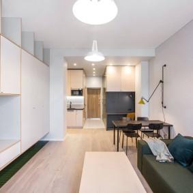 Вытянутая квартира студия с хорошим освещением