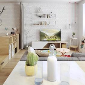 Мебель из фанеры в квартире студии
