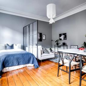 Серые стены в квартире скандинавского стиля