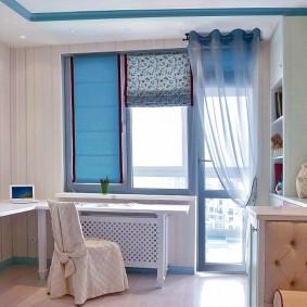 Комбинированное оформление балконного блока в квартире