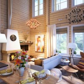 Интерьер гостиной в доме с высоким потолком