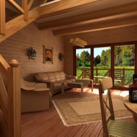 Дизайн гостиной комнаты в доме из бруса