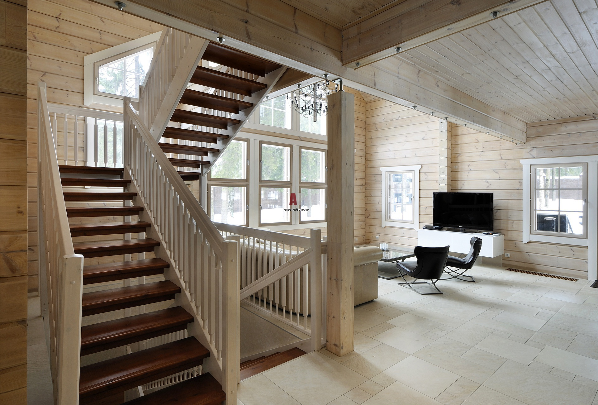 Отделка деревянного дома внутри фото второй этаж популярных