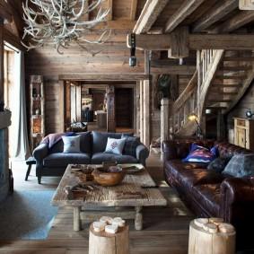 Альпийский стиль в оформлении интерьера гостиной