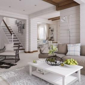 Дизайн зала частного дома в скандинавском стиле