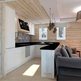 П-образная кухня в загородном доме