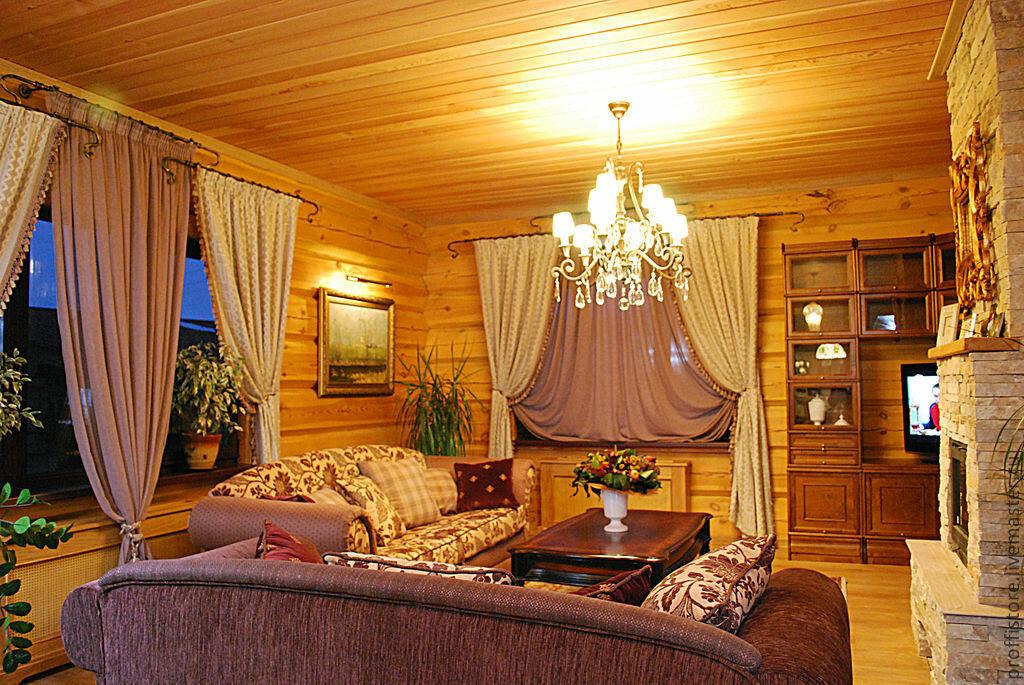 Шторы в деревянном дома картинки
