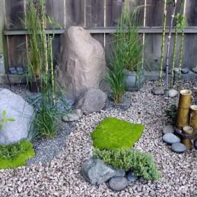 Мини-сад в японском стиле у старого забора