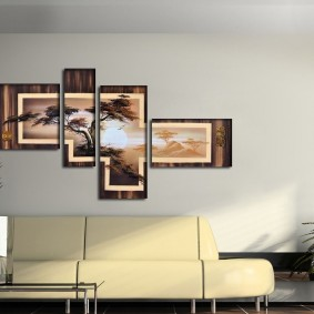 Модные картины над современным диваном