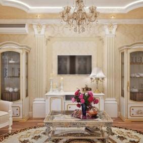 Витрины для посуды в гостиной классического стиля