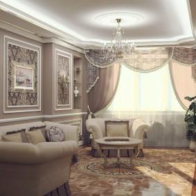 Шторы с ламбрекеном в гостиной стиля классика