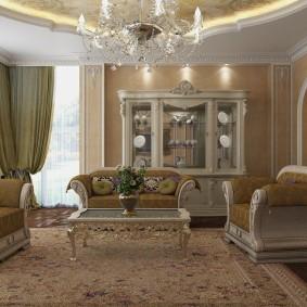 Угловая гостиная в стиле классики
