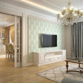 Акцентная стена гостиной в стиле классики