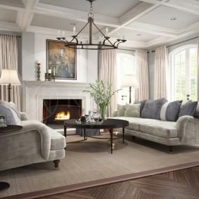 Большой палас на полу в гостиной