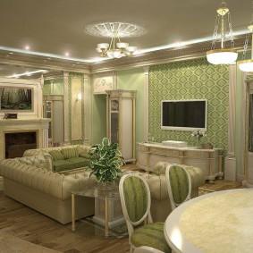 Зеленые обои в интерьере гостиной комнаты