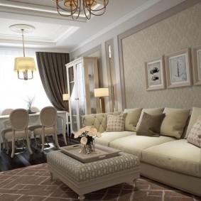 Декор картинами стены за диваном