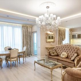 Интерьер квартиры-студии в стиле классицизма