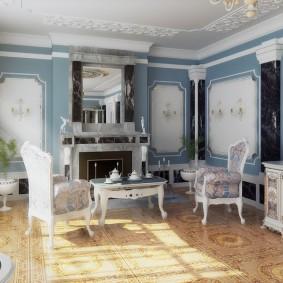 Оформление стен комнаты в классическом стиле