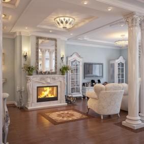 Просторная гостиная в духе классицизма