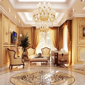 Мраморный пол в комнате классического стиля