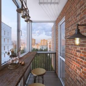Небольшой балкон в стиле лофта