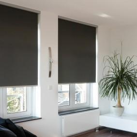 Темные шторы в светлой гостиной