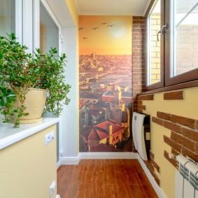 Фотообои на узкой стене балкона