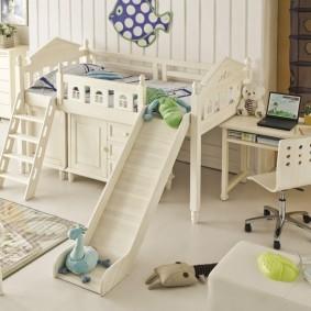 Комплект детской мебели с игровой горкой