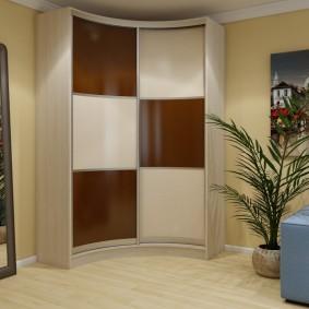 Двустворчатый шкаф радиусного типа