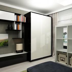 Мебель в гостиной с белыми фасадами