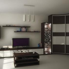 Угловой шкаф-купе в комплекте мебельной стенки
