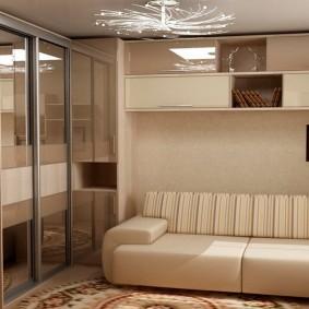 Подвесной шкафчик над диваном в зале