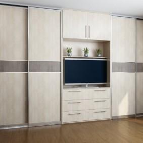 Встроенная система хранения одежды в гостиной комнате