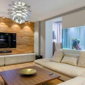 Плазменная панель в интерьере гостиной комнаты